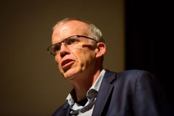 Author Bill McKibben at a reception and speaking to audience at Albright-Knox Art Gallery in Buffalo, NY as part of the Buffalo Humanities Festival. Photographer: Meredith Forrest Kulwicki