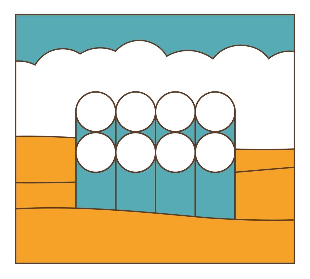 graphic interpretation of silos against a golden ground